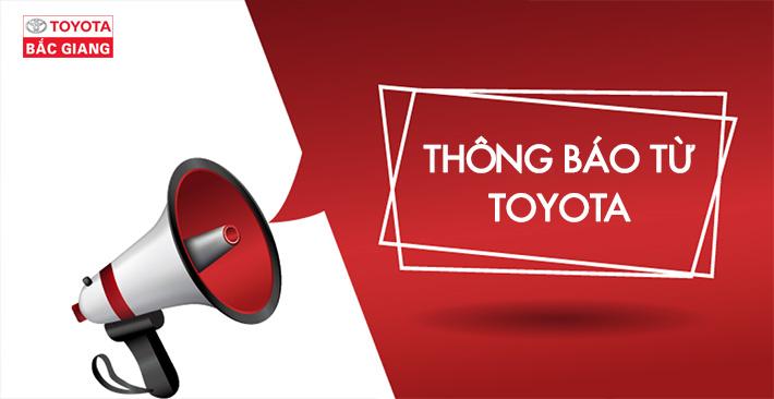 Tạm thời điều chỉnh hoạt động đại lý Toyota Bắc Giang